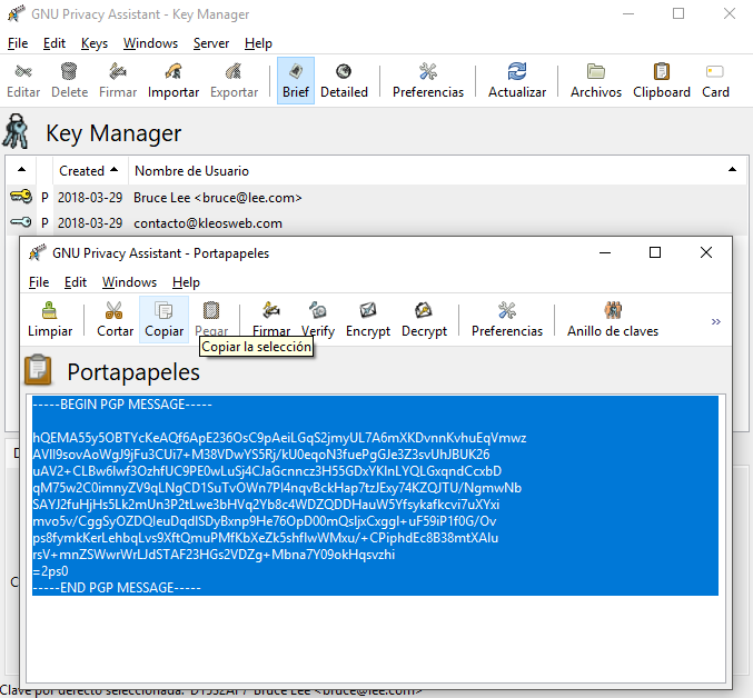 How to encrypt and decrypt a message using PGP?