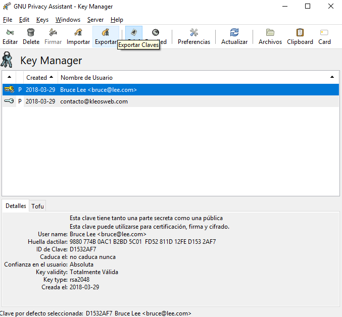 Exporting our public PGP key using GPA