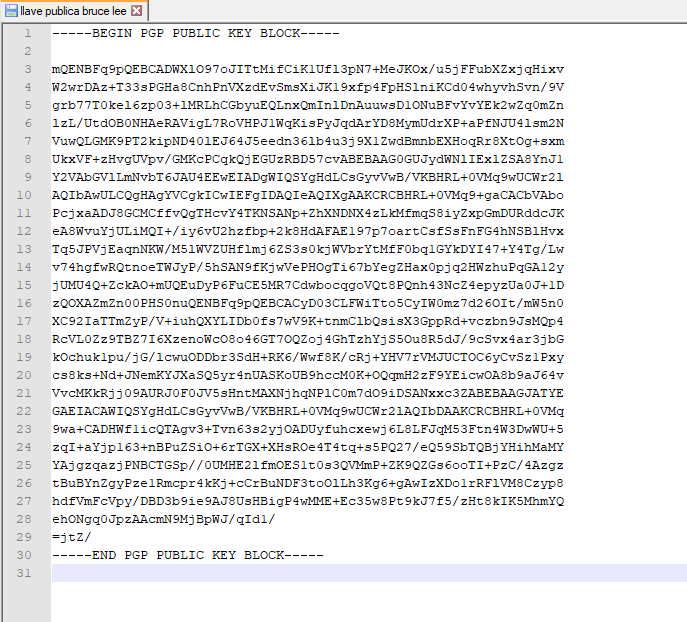 Our public PGP key, which we can share to send us messages