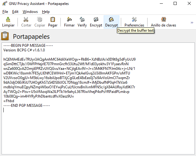 Un mensaje encriptado, listo para desencriptar.