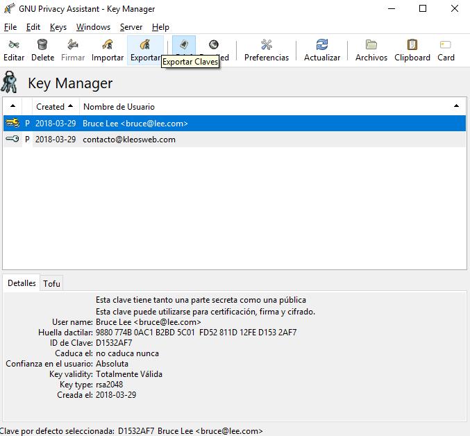Exportando nuestra llave PGP pública usando GPA