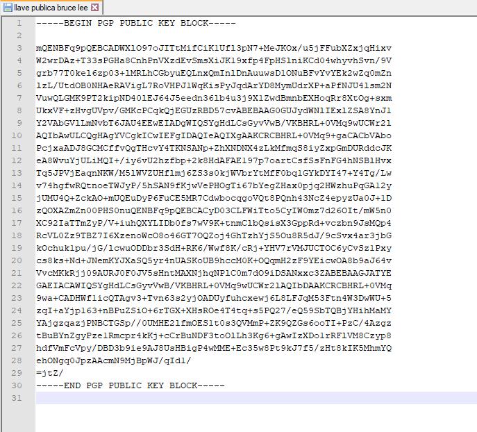 Nuestra llave PGP pública, que podemos compartir para que nos envíen mensajes