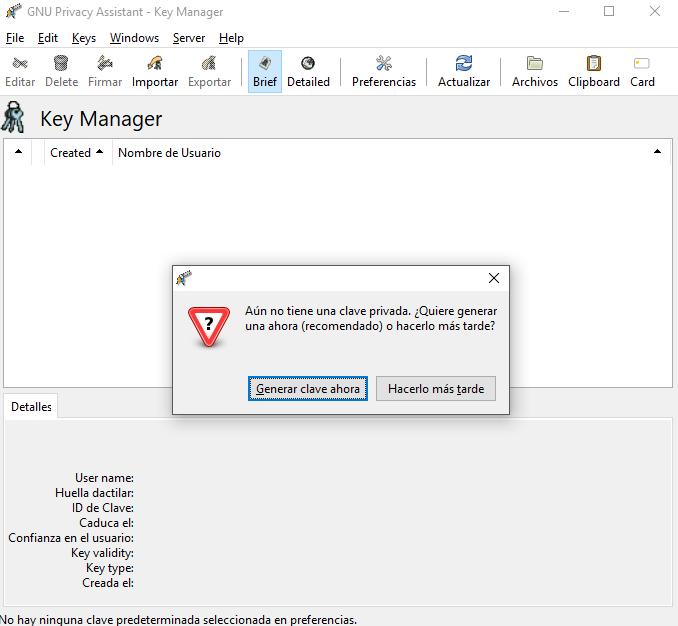 ¿Quieres crear tu clave privada?